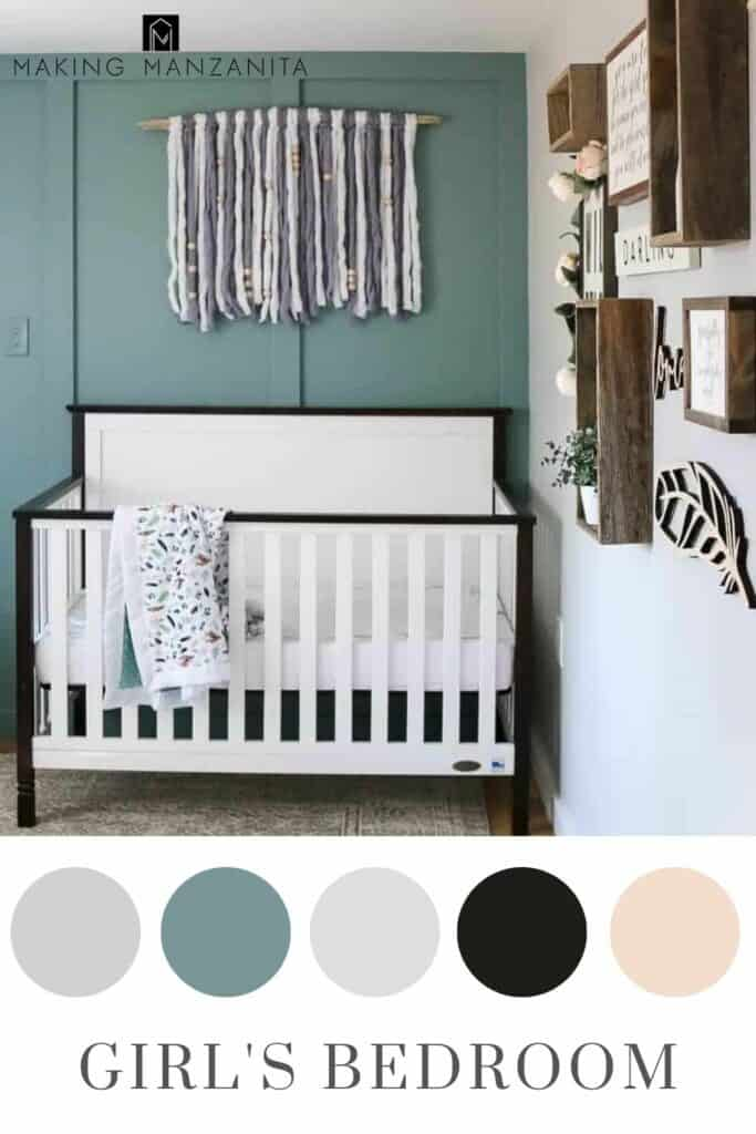 Little Girl's bedroom with light bluish green board and batten wall and otherwise neutral color schemes in circles and text overlay that says girl's bedroom