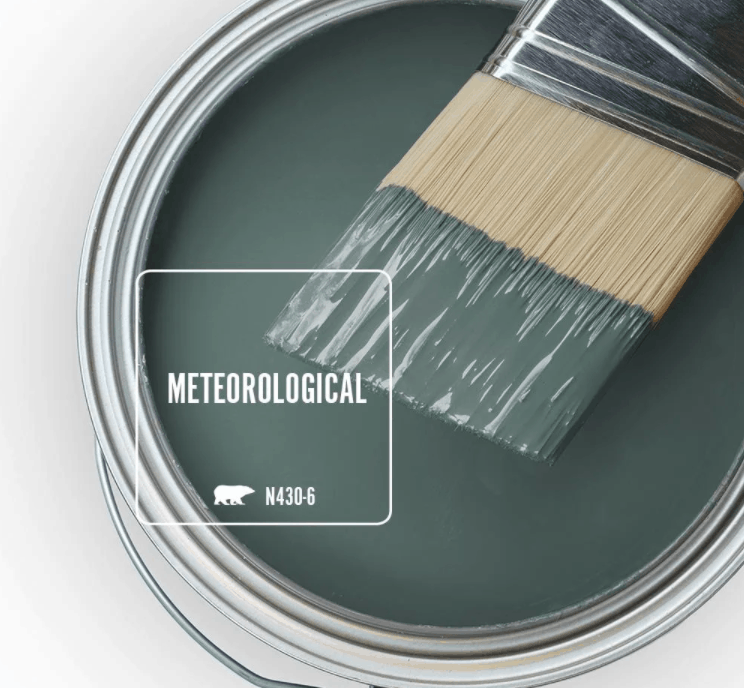Behr meteorological paint color in can and a paint brush dipped in it