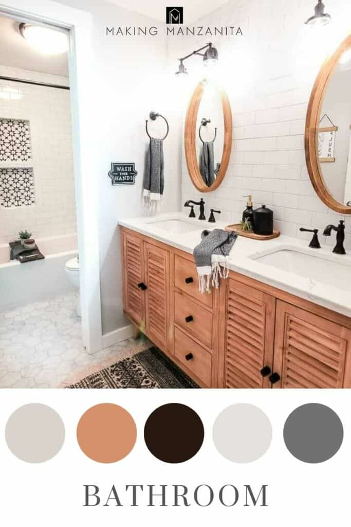 Modern farmhouse bathroom with neutral color scheme in circles at bottom and text overlay that says bathroom