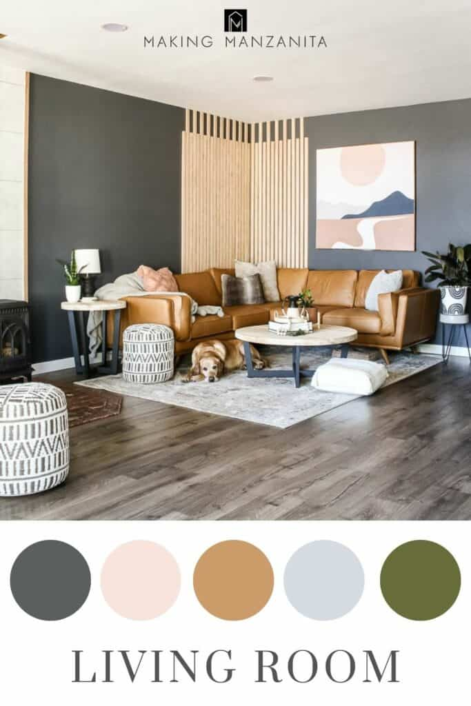 modern boho living area with dark gray and tan with blush and green color scheme circles and text overlay that says Living room