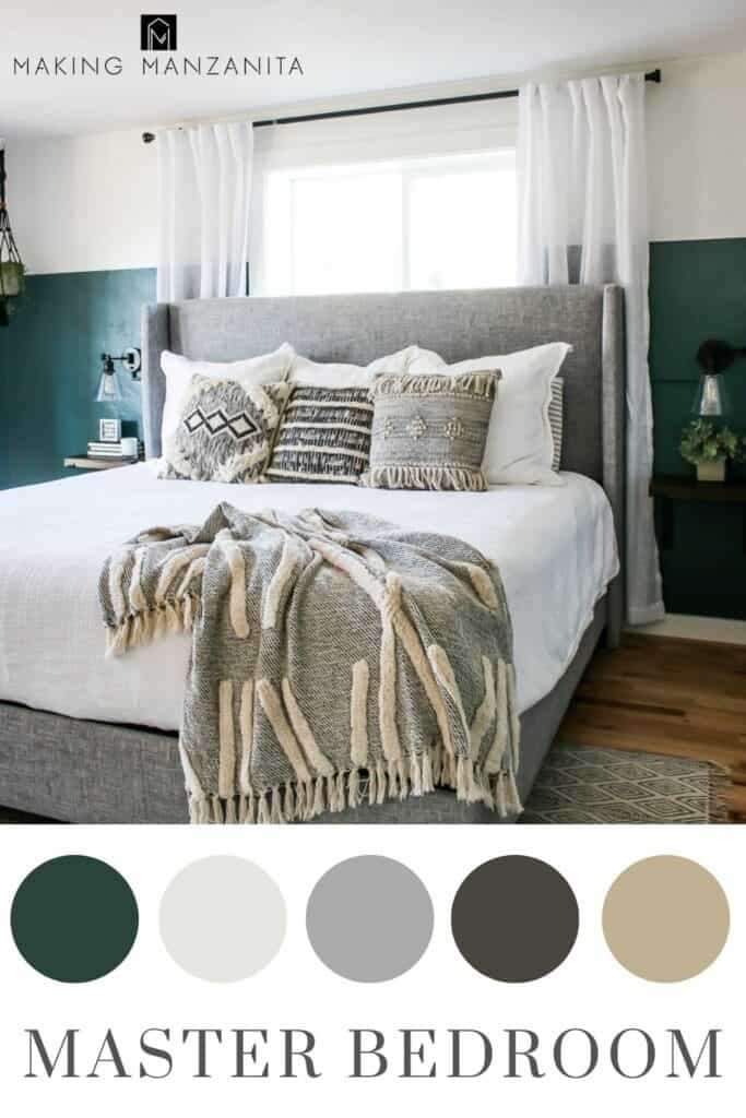 Boho Chic master bedroom with green and white walls with neutral bedding color scheme in circles and text overlay that says Master Bedroom