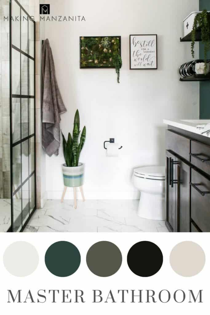 Modern master bathroom with high contrast black and white with dark green color scheme in circles with text overlay that says master bathroom
