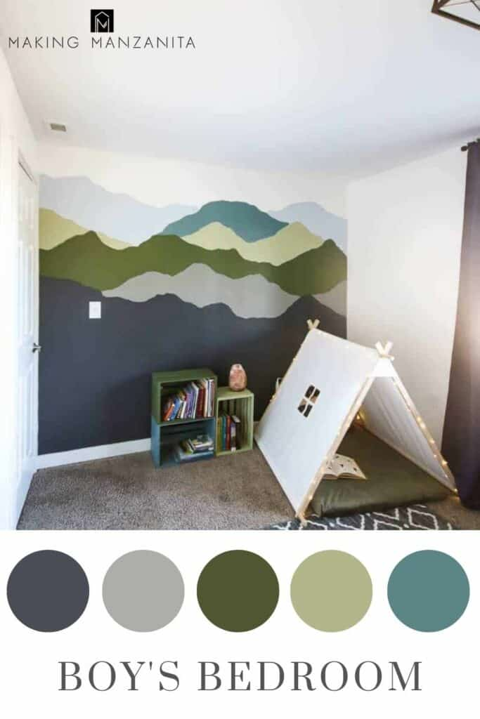 Boy's bedroom featuring a mountain mural wall painted with with natural blue and green color scheme in circles and text overlay that says boy's bedroom