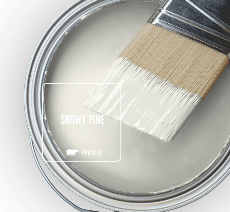 Behr snowy pine paint color in can and a paint brush dipped in it