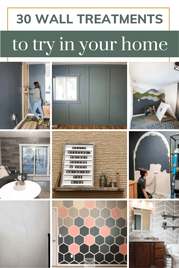 Collage of different wall treatment ideas with text overlay that says 30 wall treatments to try in your home