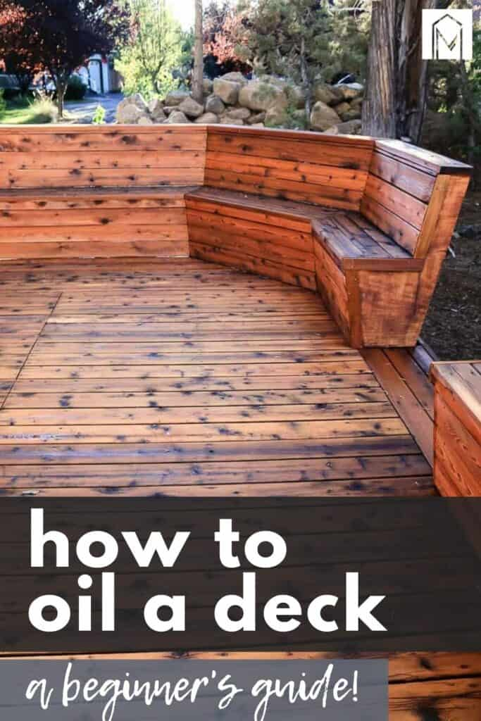 After applying oil to the deck with text overlay that says how to oil a deck