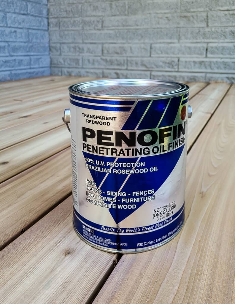 A can of penetrating oil finish for deck